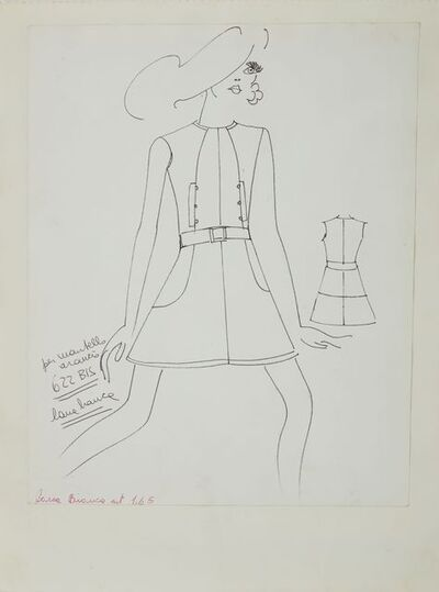 Karl Lagerfeld, 'Karl Lagerfeld Original Fashion Sketch Ink Drawing 622 Bis Contemporary Art', 1963-1969