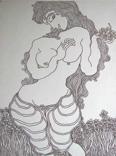 "Prokash Karmakar, 'Flower Girl, Ink on Canvas by Modern Artist ""In Stock""', 2005"