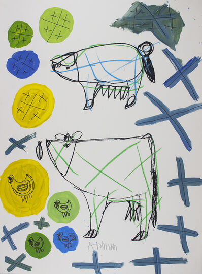 Arunan Dharmalingam, 'Pig, Cow & Blue Crosses', 2017