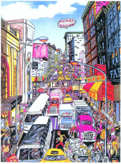 Red Grooms, 'Looking Up Broadway, Again', 1993
