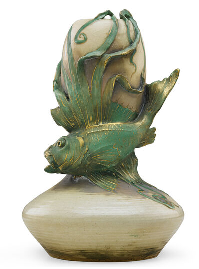 Riessner, Stellmacher & Kessel, 'Amphora vase with fish, Turn-Teplitz, Bohemia', ca. 1900