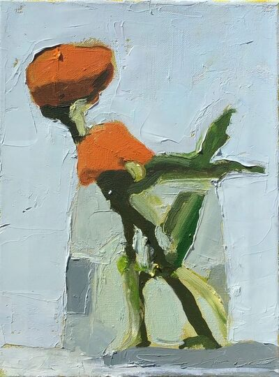 "Anne Harney, '""Orange Mums"" Painterly Still-Life of Orange Flowers in Vase,  Light Background ', 2010-2018"