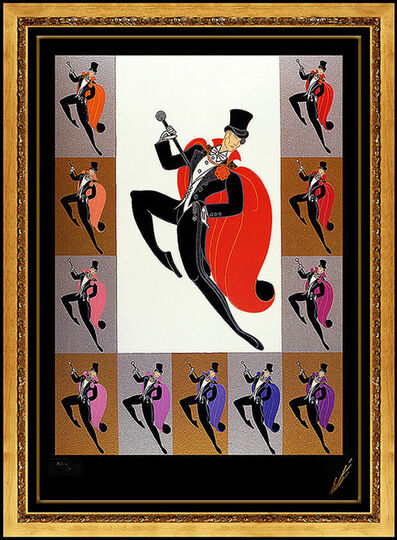 Erté (Romain de Tirtoff), 'Erte White Tie Embossed Color Serigraph Signed Art Deco Costume Design Framed', 1990