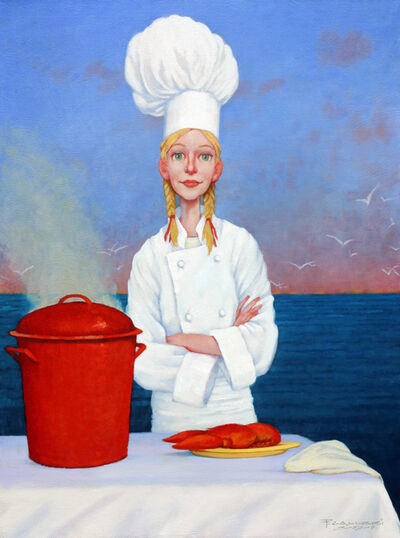 "Fred Calleri, '""Two Time Champion"" oil painting of a chef with lobster and sunset background', 2020"