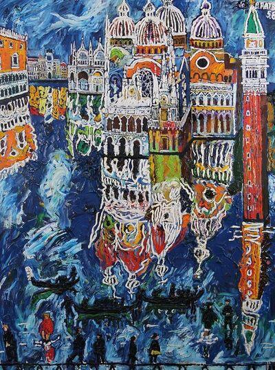 John Bratby, 'Venetians walking on duckboards in flooded Venice', 1989