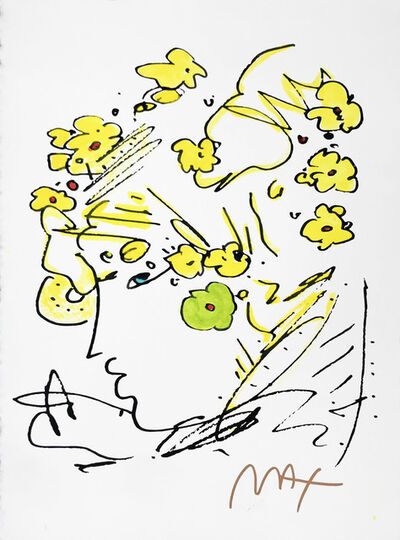 Peter Max, 'PROFILE WITH YELLOW FLOWERS', 1990