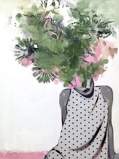 "Anna Kincaide, '""I Only Miss You When The Sun Goes Down"" Oil painting of a woman in polka dots with green and pink floral bouquet', 2010-2017"
