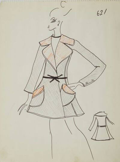 Karl Lagerfeld, 'Karl Lagerfeld Original Fashion Sketch Ink Drawing with marker 621 Contemporary', ca. 1963-1969