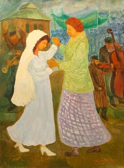 Chaim Goldberg, 'Mother Daughter Wedding Dance, Large Judaica Oil Painting, Shtetl Life', 9-500