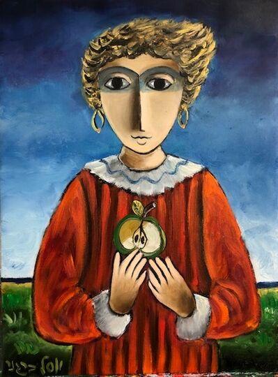 Yosl Bergner, 'Girl and Apple', ca. 1990