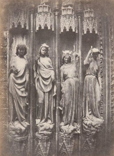Charles Marville, 'Figures du grand portail de la Cathedrale de Strasbourg (les vertus terrassant les vices)', 1852
