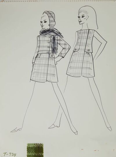 Karl Lagerfeld, 'Karl Lagerfeld Original Fashion Sketch Ink Drawing with Fabric T-734', 1963-1969