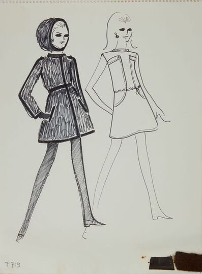 Karl Lagerfeld, 'Karl Lagerfeld Original Fashion Sketch Ink Drawing with Marker and Fabric T-719', 1963-1969