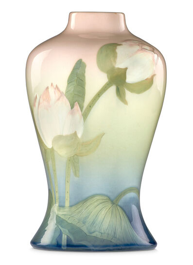 Lenore Asbury, 'Iris Glaze factory lamp base with lotus flowers (uncrazed), Cincinnati, OH', 1906