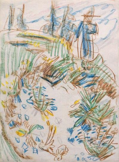 Ernst Ludwig Kirchner, 'Blumengarten und Spaziergänger', 1919