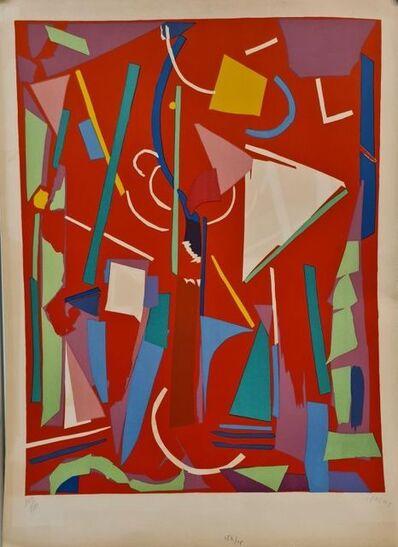 André Lanskoy, 'Composition sur fond Rouge ', ca. 1970
