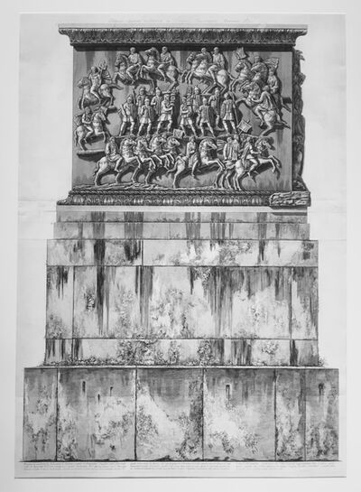 Giovanni Battista Piranesi, 'Base of marble and travertine constructed during the pontificate of Pope Benedict XIV for the pedestal of the column, from Trofeo o sia Magnifica  Colonna Coclide...(The Trophy or Magnificent Spiral Column); Columna Antonina. ', 1774-1779