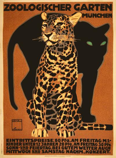 Ludwig Hohlwein, 'Zoologischer Garten - Munich Zoo - Panther and Leopard - Cats', 1912