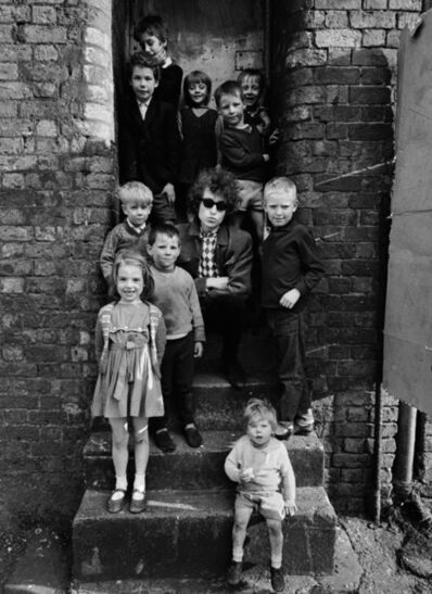 Barry Feinstein, 'Bob Dylan, Kids On Steps, Liverpool, England', 1966