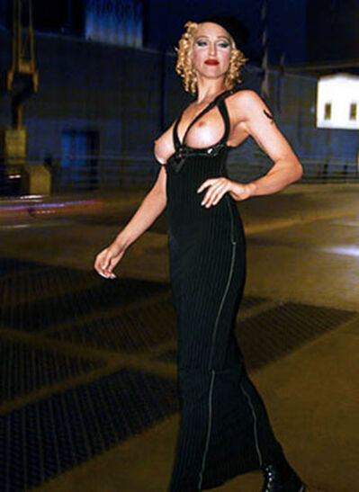 Roberto Rabanne, 'Madonna on 3rd Avenue, Brooklyn, NYC ', 1990 with Exposed Breasts Walking with Hat