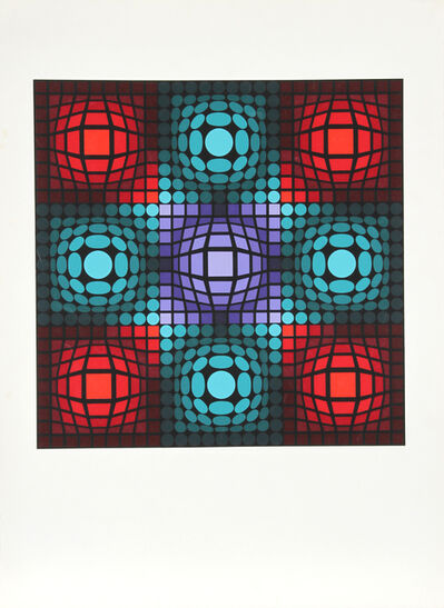 Victor Vasarely, 'Dyevat (Red and Blues)', circa 1980