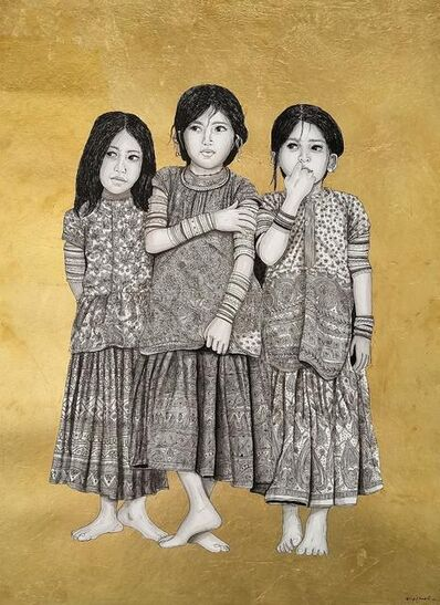 """Kapil Anant, 'Rajsthani Rural Sister's, Acrylic, Ink & Gold Foil on Canson Paper by Contemporary Artist """"In Stock""""', 2021"""