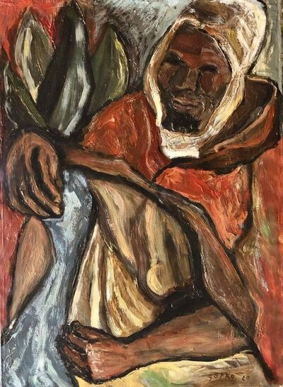 Jacques Gotko, 'Berber Man, Arab with Head Covering 1929 Modernist Oil Painting', 1920-1929