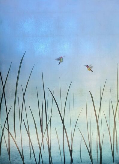 Carolyn Reynolds, 'Two Hummers in Reeds Over Green', 2020