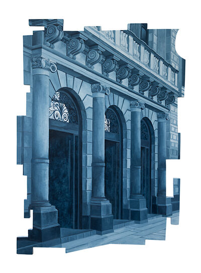 Cecilia Villanueva, 'Walk In, Mexico City Architecture, blue and white postmodern realism, cityscape, downtown perspective cutout wood', 2019