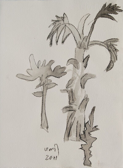 """K. G. Subramanyan, 'Palm Tree Series, Charcoal, Brush & Wash on Paper by Modern Artist """"In Stock""""', 2011"""