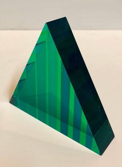 Vasa Velizar Mihich, 'Signed and Dated 1999 Colorful Acrylic Vasa Laminated Lucite Triangle Sculpture', 1990-1999