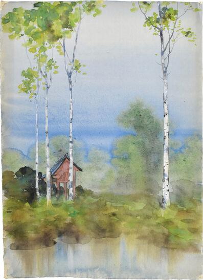 Kakunen Tsuruoka, 'Misty Landscape with Birch Trees and Raised Red Hut', n.d.