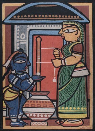 Jamini Roy, 'Krishna and Yashoda', Bengali Modernism
