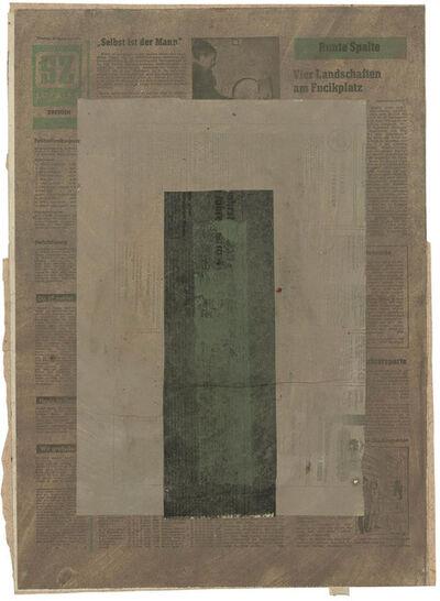 Hermann Glöckner, 'Vertikaler Balken in Grün-schwarz auf Rechteck in Grau', 1971