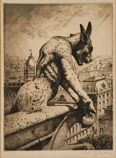John Taylor Arms, 'The Gargoyle and his Quarry, Notre Dame', 1920