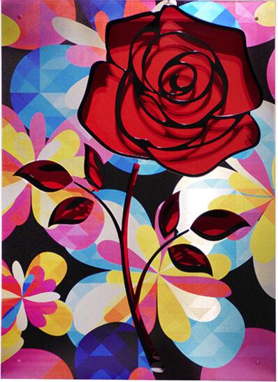 Michael Kalish, 'Crush- Rose on red', 2017