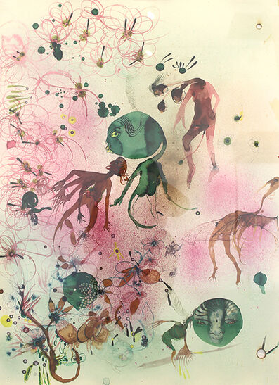 Rina Banerjee, 'Bacteria: In combat 540 wild beast in green fury took refuge in curdled milk, kindled friendship with nomads skimmed butter as treasure absconded with proteins warmed milk until certain odor blew more flora', 2012