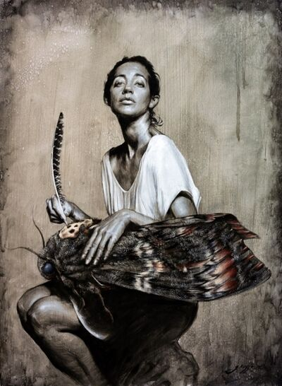 """Victor Grasso, '""""The Scribe"""" or (How The Hawk Moth Received It's Death Head)', ca. 2014"""