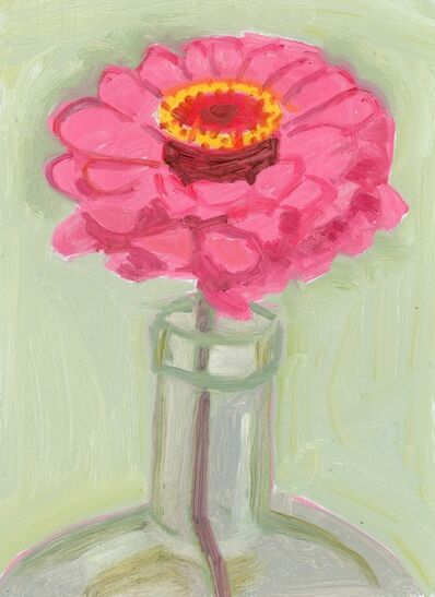 Lois Dodd, 'Pink Zinnia in Bottle', 2018