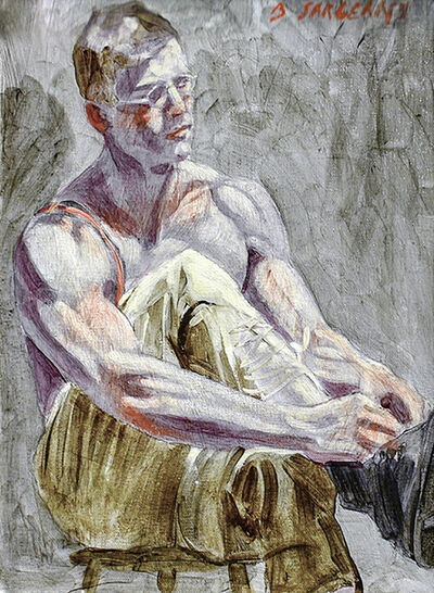 Mark Beard, 'Young Man Tying His Laces', date unknown