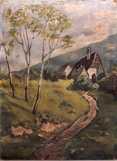 Isaac Antcher, 'Ecole De Paris Landscape Village Farmhouse Oil Painting', Mid-20th Century