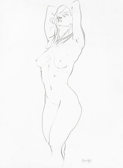 Barry Flanagan, 'Life Drawing - Standing Nude with Hands on back of Head', 21