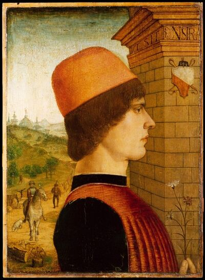 Attributed to the Maestro delle Storie del Pane, 'Portrait of a Man, possibly Matteo di Sebastiano di Bernardino Gozzadini', ca. 1494