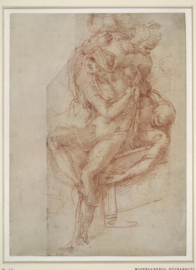 Michelangelo Buonarroti, 'Lazarus with his right arm held across his chest, draped in a shroud; the upper part of Lazarus's body (upside down)', 1518