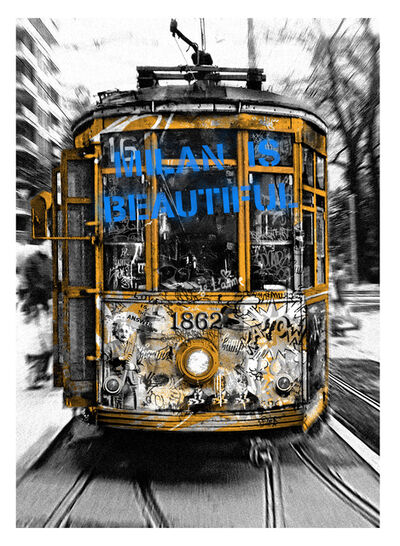 Mr. Brainwash, 'Milan is Beautiful - Tram Blue', 2019