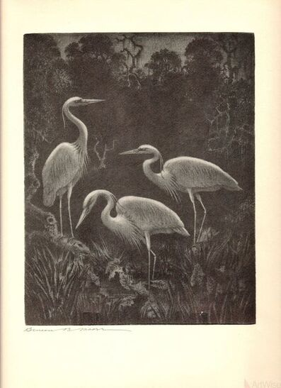 Unknown Artist, 'White Herons at Home', 1936