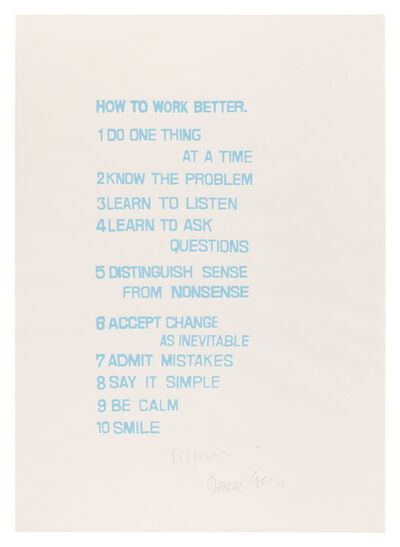 Peter Fischli & David Weiss, 'How to Work Better', 1991