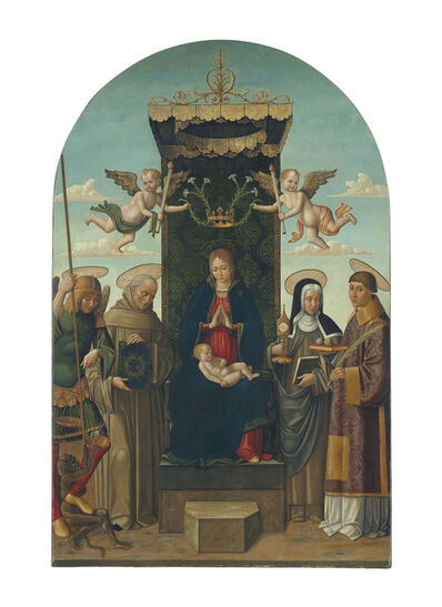 Gian Giacomo D'Alladio (called Macrino D'Alba), 'The Madonna and Child enthroned, with Saints Michael, Bernardino of Siena, Clare and Stephen, two angels holding a crown with lilies above'