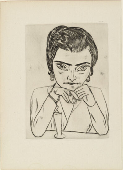 Max Beckmann, 'Portrait of Naila leaning on her arms, with glass', 1924
