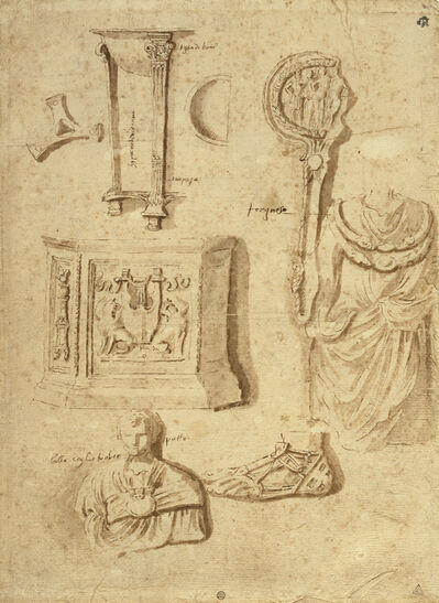 Nicolas Poussin, 'Studies of Antiquities (recto), Studies of Antiquities (verso)', 1645